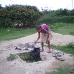 One of the many Hand dug wells in Ethiopia.  The bucket  recontaminates the water every day